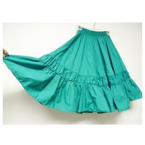 70s green square dance rockabilly full skirt